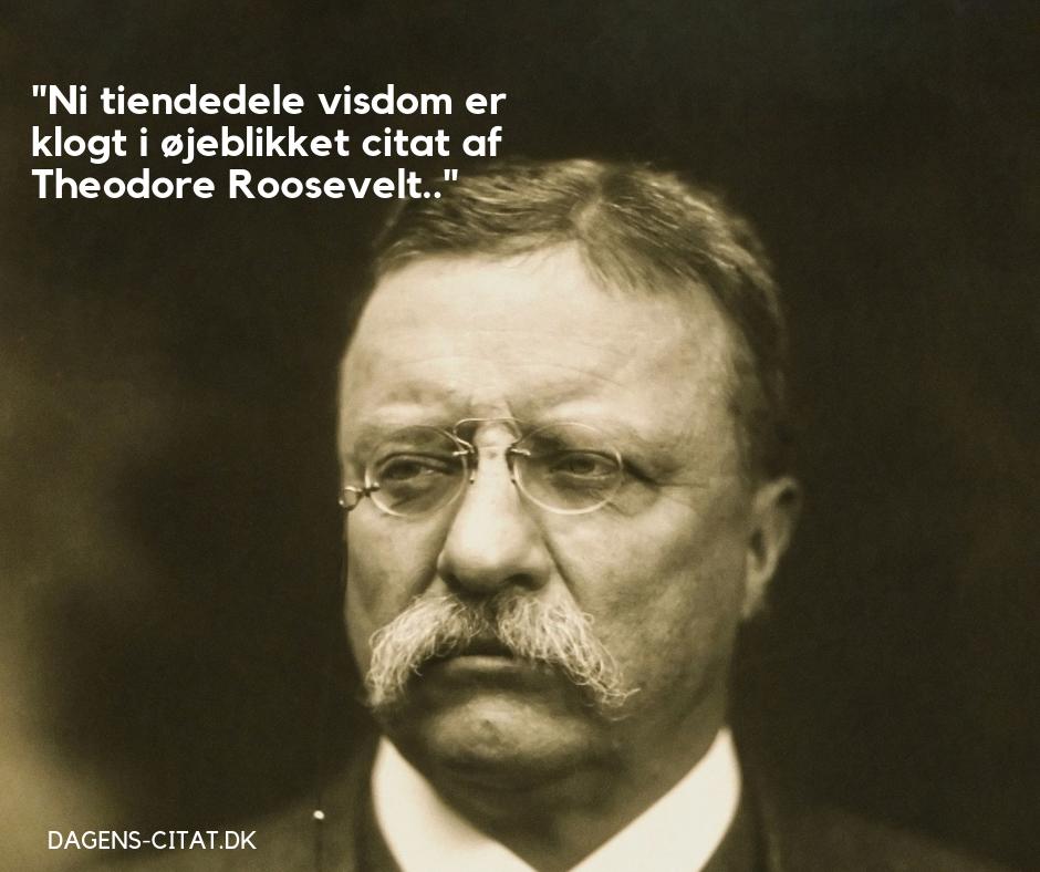 Ni tiendedele visdom er klogt i øjeblikket citat af Theodore Roosevelt
